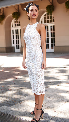 Snapdragon High Neck Lace Dress - White