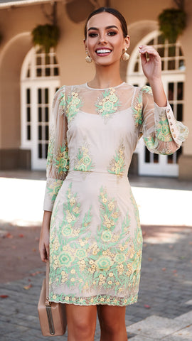 Lemongrass High Neck Lace Dress
