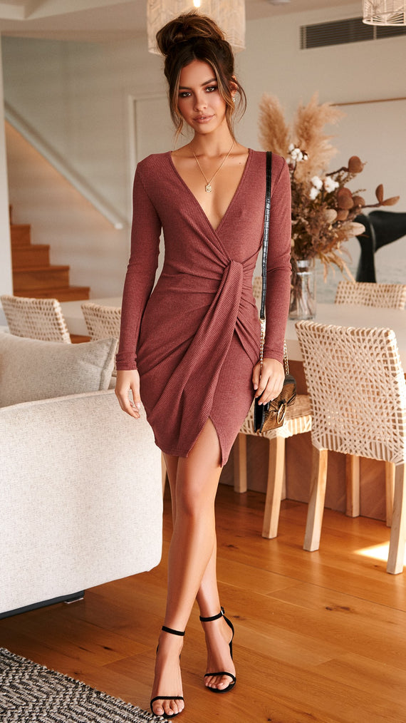Teddi Knit Dress - Wine