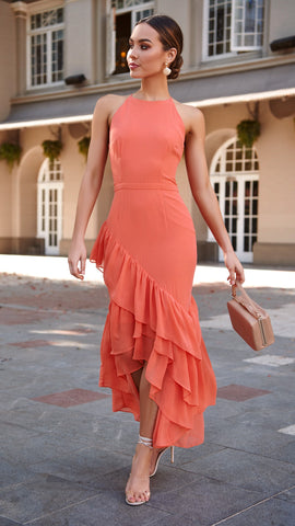 Saffron High Neck Midi Dress