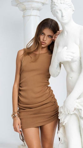 Military Minds Mini Dress - Camel