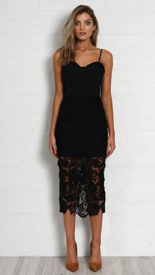 Light The Room Dress - Black