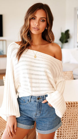 Darcey Knit Top - Off White