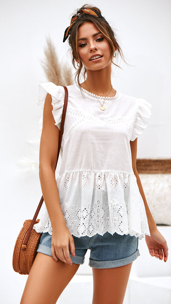 Floating Stars Lace Top - White