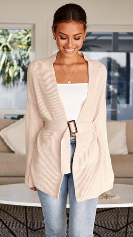 Free Falling Belted Cardigan - Ivory