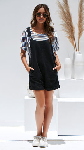 Love Game Denim Overalls - Black