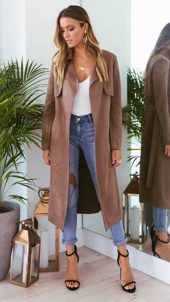 Verona Suede Coat - Chocolate