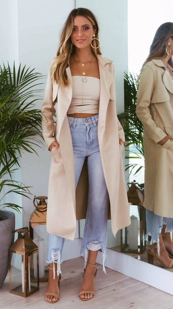 Verona Suede Coat - Cream