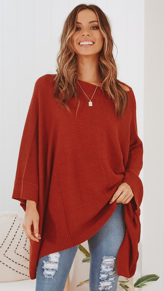 Halo Knit Poncho - Rust