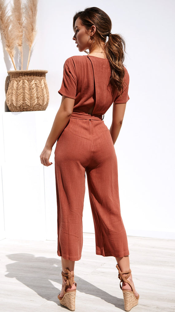 Paris Nights Jumpsuit - Terracotta