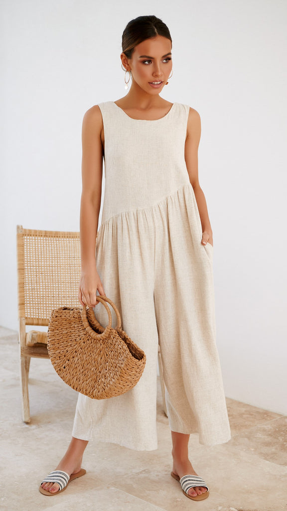 Hit the Road Jumpsuit - Natural