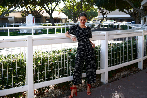 Paris Nights Jumpsuit - Black/White Dots
