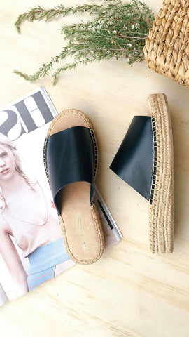 Arrosim Espadrille Slides - Black