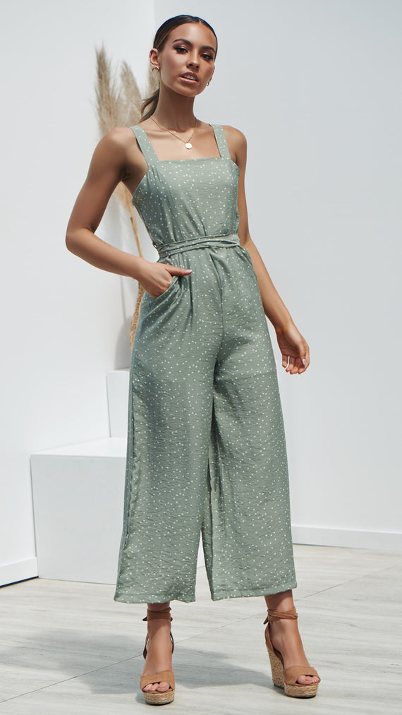 Walking On A Dream Jumpsuit - Sage