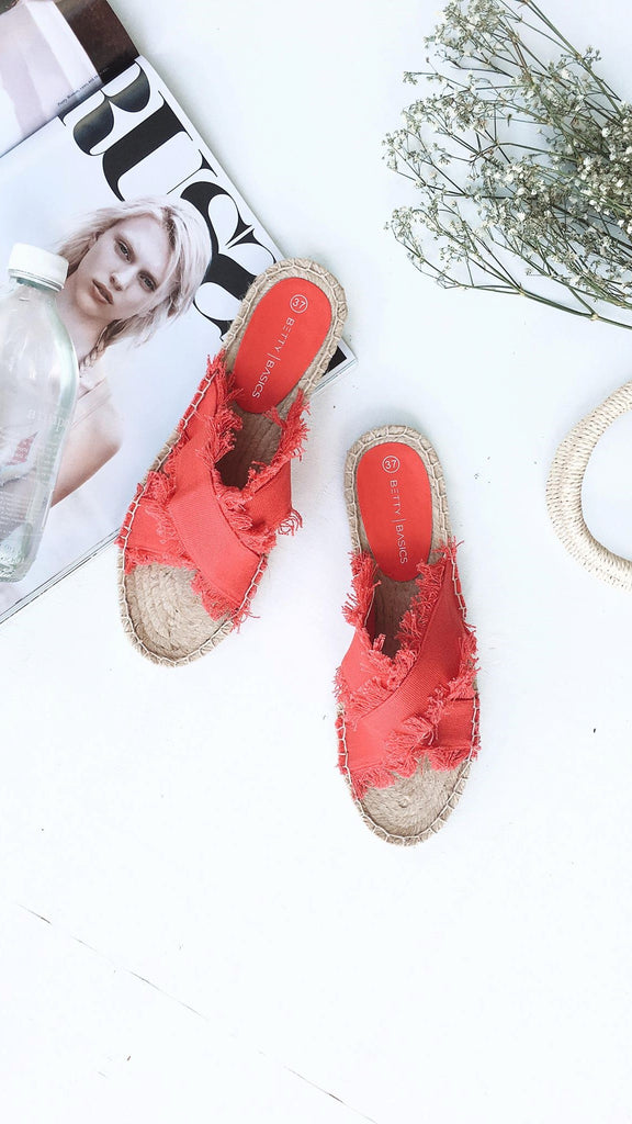 Seeker Espadrille Slide - Bold Red
