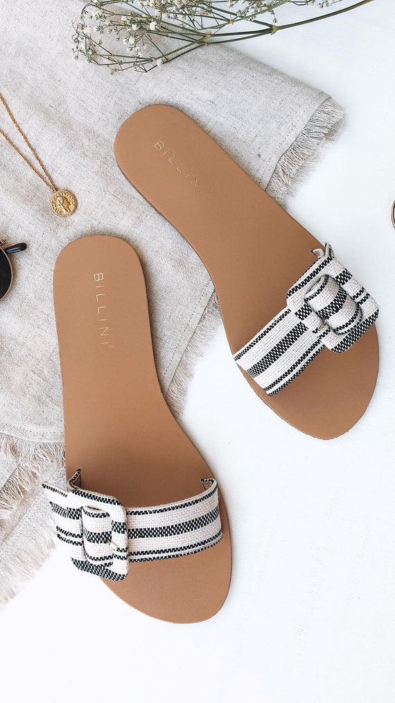Cianna Slides - Black/Beige Stripe