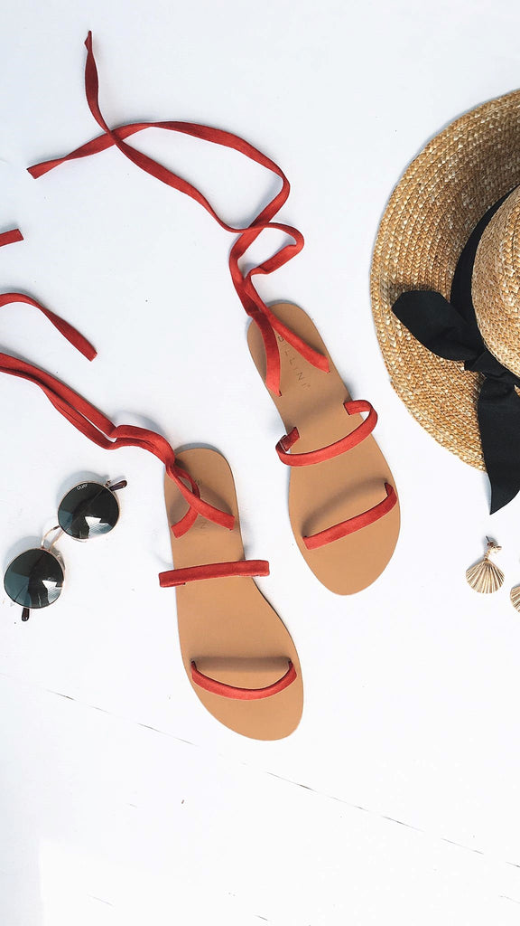 Carolla Sandals - Red Suede