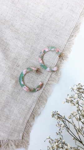 Mali Earrings - Mint/Pink