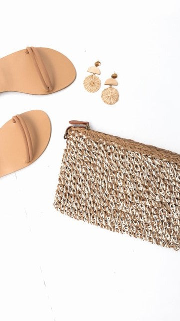 Cabo Beach Clutch - Natural/White