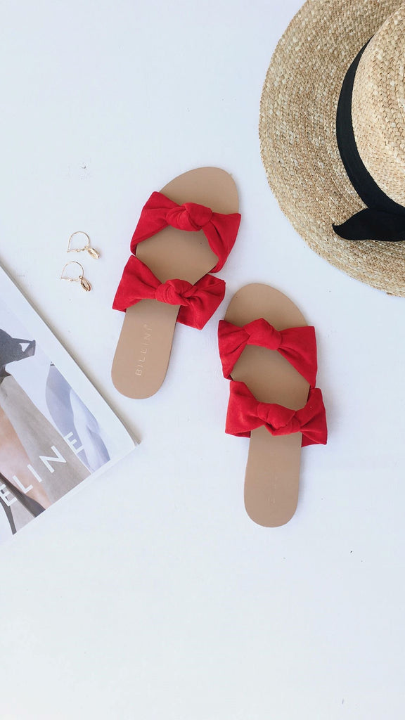 Madena Slides - Red Suede