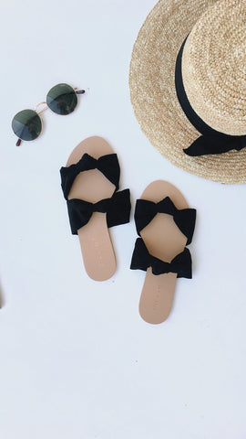 Madena Slides - Black Suede