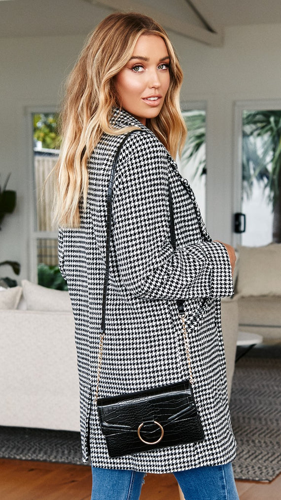 Houndstooth Coat - Black/White Check