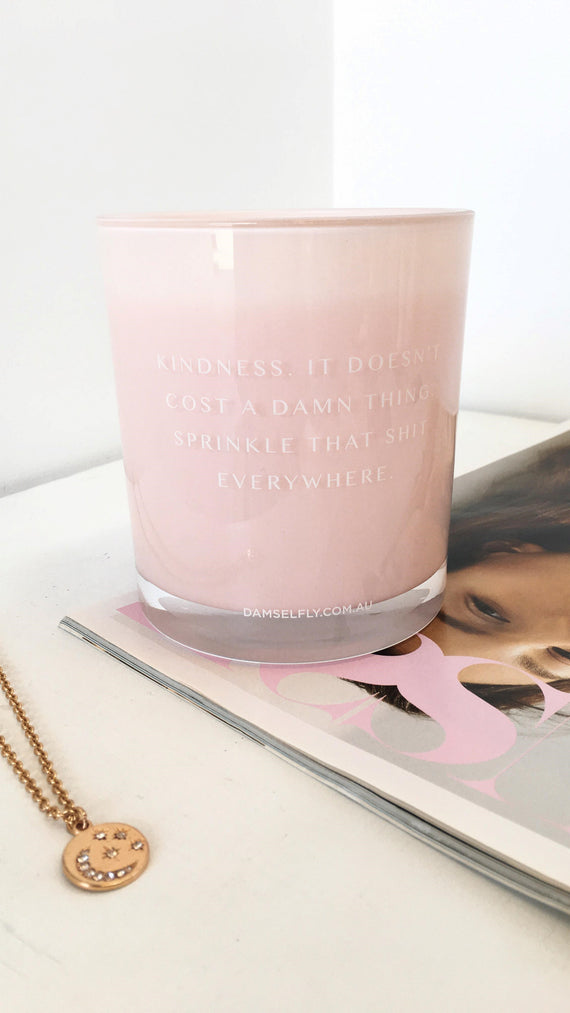 Kindness Doesn't Cost A Damn Thing Candle - Blush
