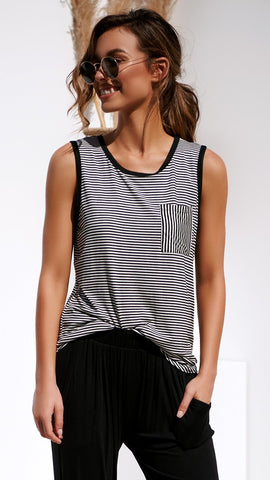 Delhi Tank - Black/White Stripe