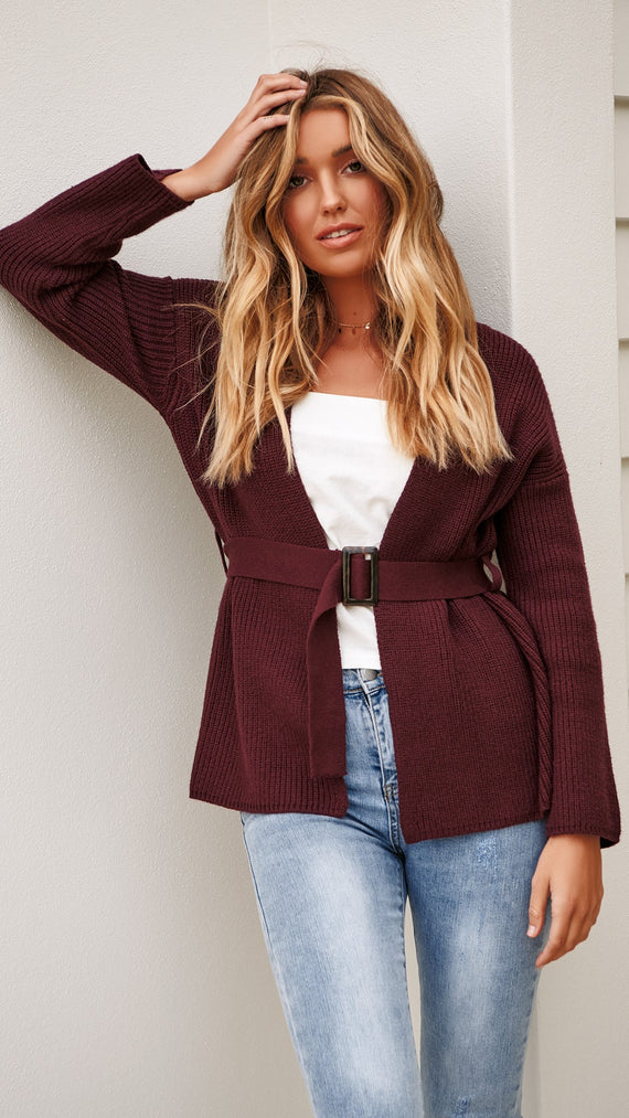 Free Falling Belted Cardigan - Mulberry