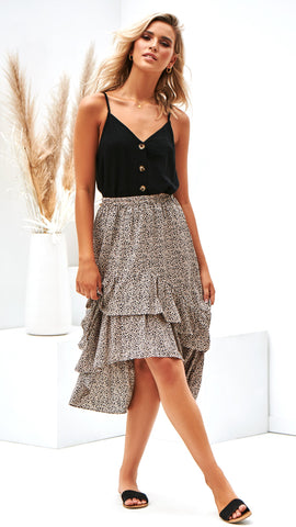 Lost In Translation Skirt - Beige/Black Pebble