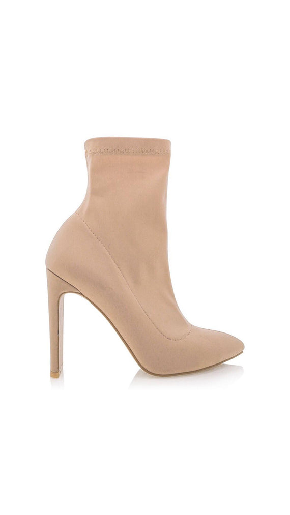 EDIE CAMEL LYCRA Ankle Boots