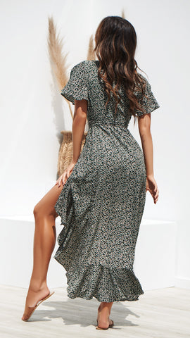 Dillion Maxi Wrap Dress - Forest Green