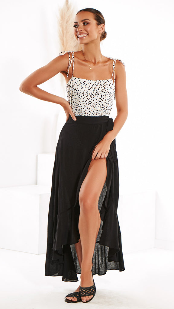 Flamenco Maxi Wrap Skirt - Black