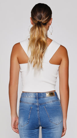 Tiller Crop Top - White