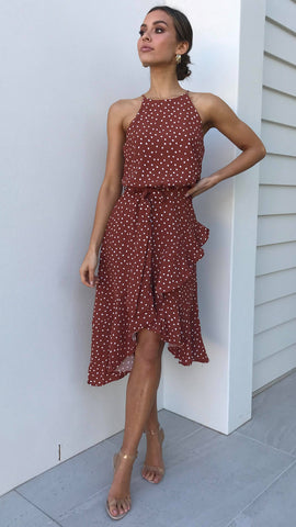 Loretta Dress - Rust/White Polka Dot