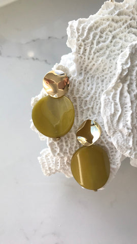Carmen Resin Circle Drop Earrings - Citr/Gold