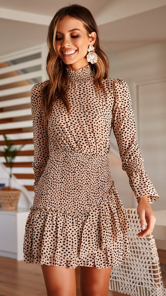 Mylee Dress - Beige Pebble