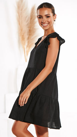Wild Thing Linen Dress - Black