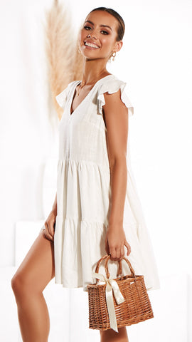 Wild Thing Linen Dress - White