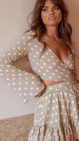 Lulu Crop Top - Beige Spot