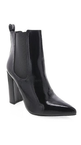 Mckenna Boots - Black Crinkle Patent