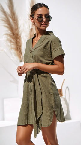 Louisa Dress - Khaki