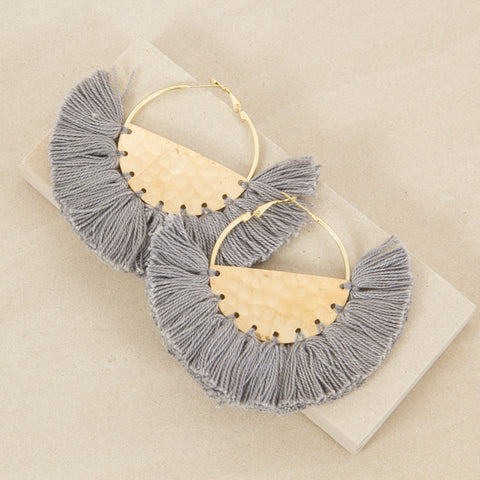 FRINGED FABRIC EDGE HALF CIRCLE EARRINGS - GREY/GOLD