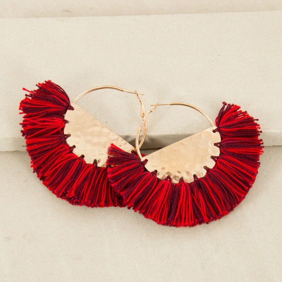 FRINGED FABRIC EDGE HALF CIRCLE EARRINGS - MULTI ROSE