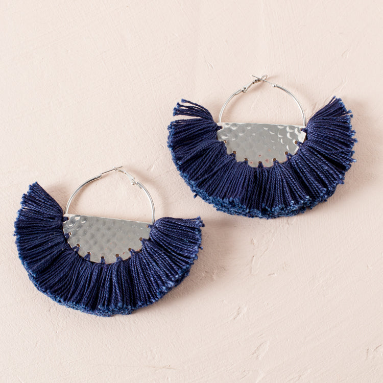 FRINGED FABRIC EDGE HALF CIRCLE EARRINGS - NAVY/SILVER