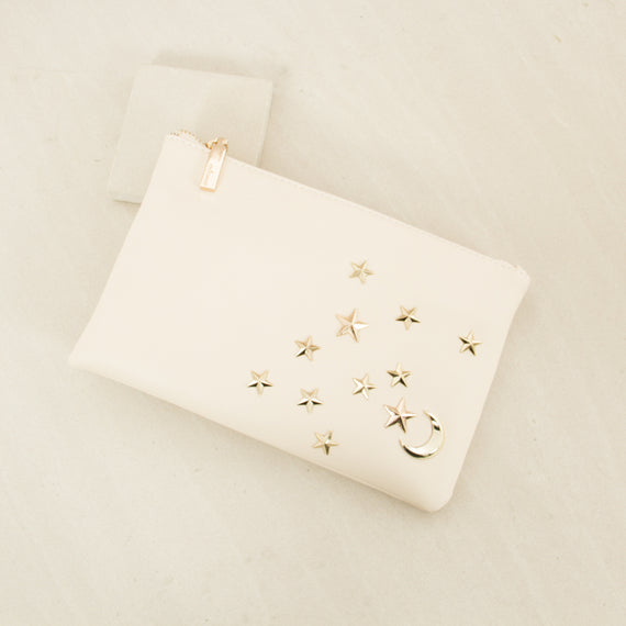 Stars & Moon Zip Top Clutch - Cream