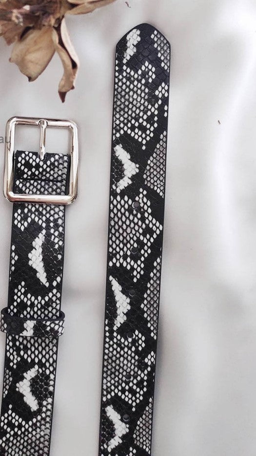 Classic Square Buckle Belt - Snake Print
