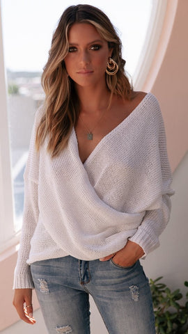 Double Crossed Knit - White