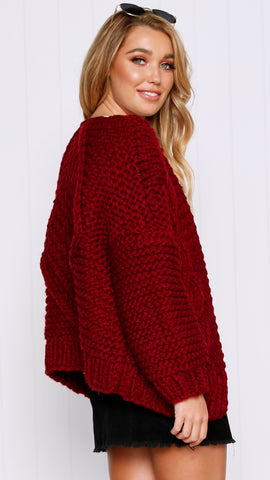 Molly Chunky Knit - Wine