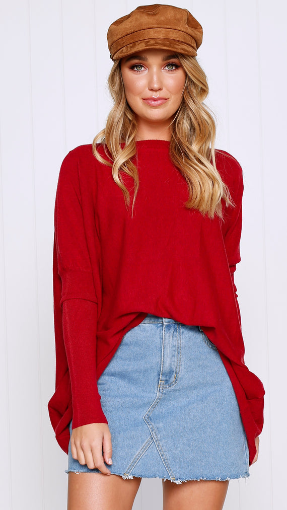 Warrior Knit Top - Deep Red